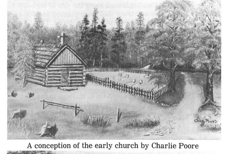 A Drawing of a Conception of how Bascomb UMC would look. It's like a log cabin.